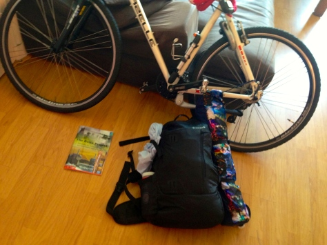 Bike. Tent. Sleeping bag. Water. 2 Sandwiches. Play-dough.