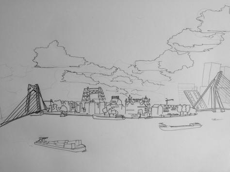 Cityscape of Noordereiland,  Rotterdam