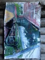 Venice construction barge